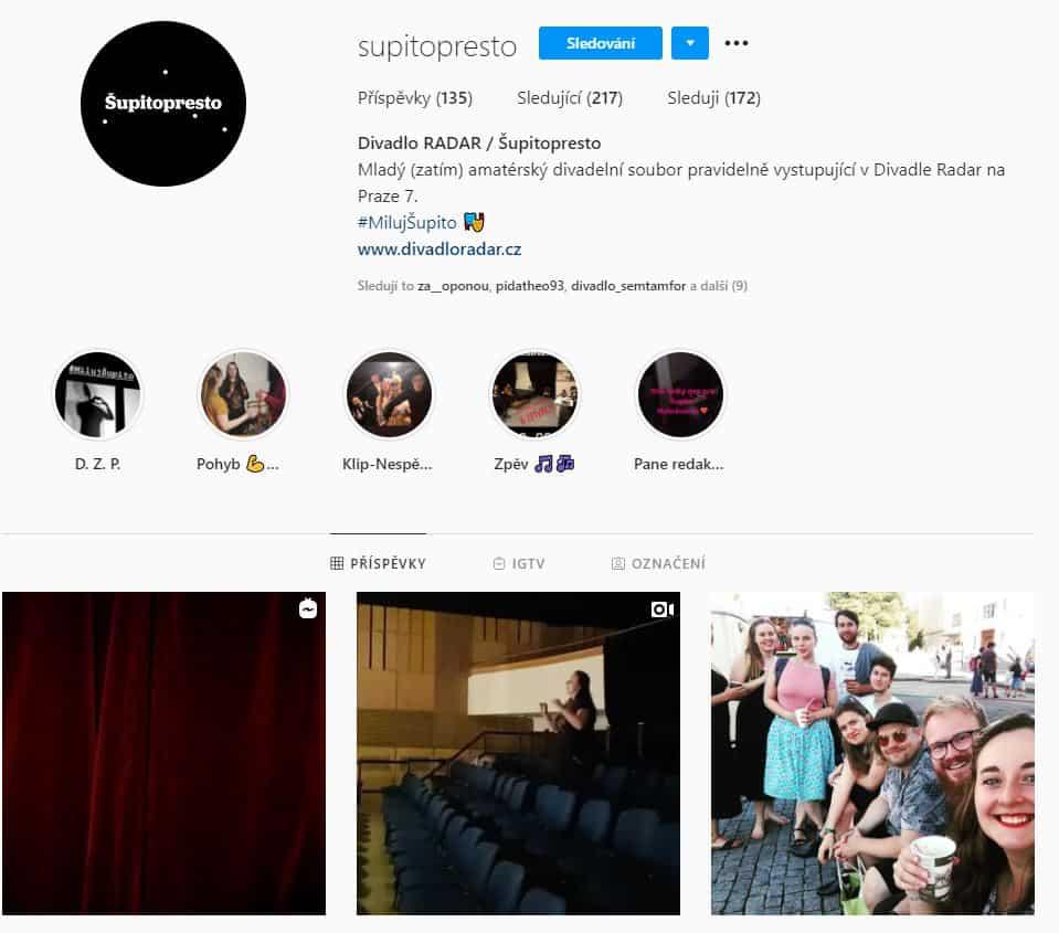 Šupitopresto - Divadlo RADAR - foto Instagram profilu