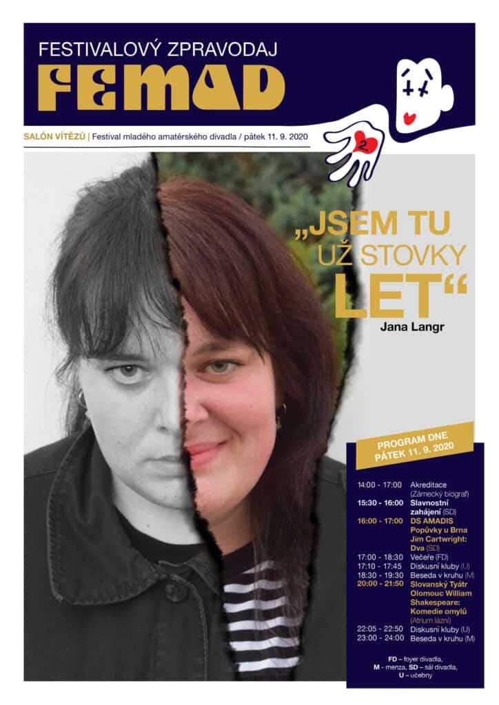 Nová ředitelka festivalu FEMAD - Jana Langr na titulní straně festivalového zpravodaje 49. ročníku